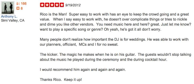 Reputable reviews of our Live Spanish guitar musical services and Dj services