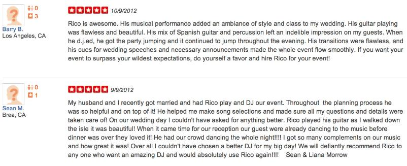 Review of our services where we provided Spanish guitar and DJ services at a wedding in Los Angeles, Ca